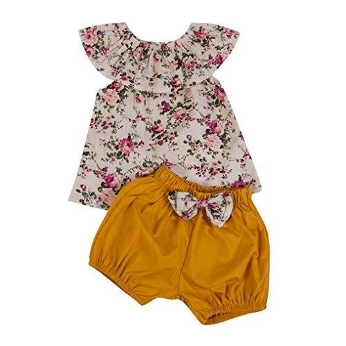 Wide.ling Kid Baby Meisje Mouwloos Bloemen Tops Shorts Outfit SetNewborn Kleding Sets Zomer Casual Ruffled kraag Blouse T-Shirt Broek Shorts Outfit