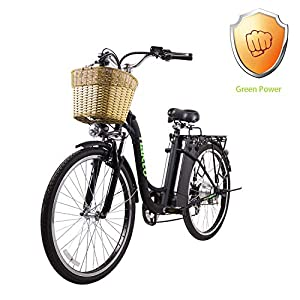 NAKTO 26″ City Electric Bicycle and Assisted Bicycle for Men with Removable 36V 10A Large Capacity Lithium Battery and Charger