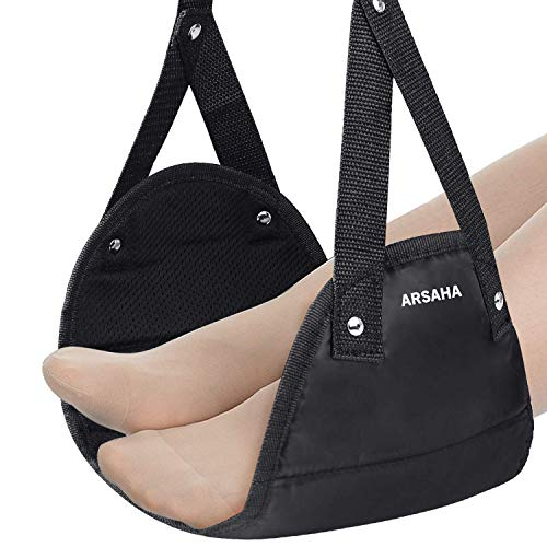 ARSAHA Airplane Footrest-Foot Hammock-Airplane Travel Accessories-Portable Travel Foot Hammock for Train Bus Flight Office Footrest Sling Comfy Hanger Airplane Feet with Memory Foam-Reduce Swelling