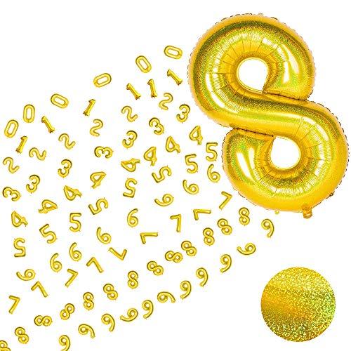 MMTX Foil Palloncini Numeri 0 1 2 3 4 5 6 7 8 9 Oro, Gigante Laser Numero Elio Pallone Brillante, Numeri Gonfiabili Compleanno, Anniversario Decorazione Feste Compleanno Palloncino, Vola con l'Elio