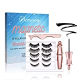 Magnetic Eyelashes and Magnetic Eyeliner Kit, Beewin Upgraded 5 Pairs of Different Styles Reusable 3D Magnetic Eyelashes with Magnetic Eyeliners and Tweezers, Easy to Apply with Natural Look