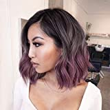 Civrie Hair Short Wavy Bob Ombre Purple Wig, Dark Roots 3 Tones Side Part Wig, Synthetic Heat Resistant Cosplay Wigs for Black Women