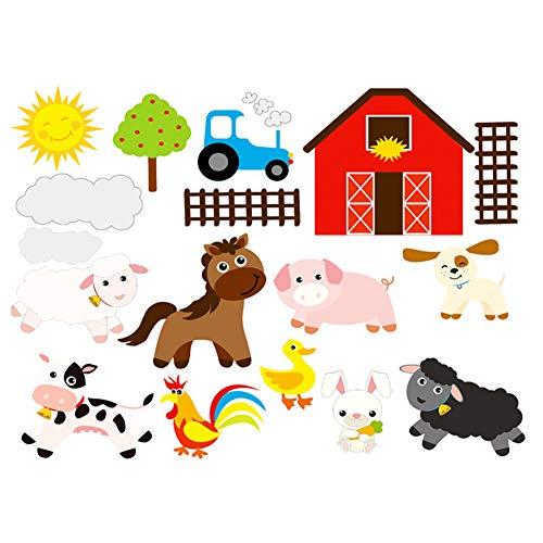 Lumanuby 1x Bauernhof Wandaufkleber von Pferd Schwein Hahn Ente Kaninchen Hund und Schaf Bild Abnehmbarer Sonne und Baum Wandbilder PVC für Kinderzimmer Kindergarten, Wandtattoo Serie Size 50x60cm