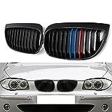 DYBANP Parrillas Delanteras del Coche Rejillas de Carreras, para BMW E87 E81 1-Series 116i 118i 120i 2004-2007, 2 Piezas Negro Brillante M-Color Look Parrillas Delanteras