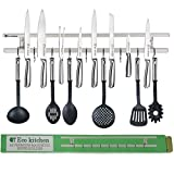 Magnetic Knife Strip 24 Inch - Best Kitchen Magnetic Knife Holder - Wall Knife Magnet - Magnetic Knife Rack Bar With 9 Hooks in Gift Box - 5 Years Guarantee