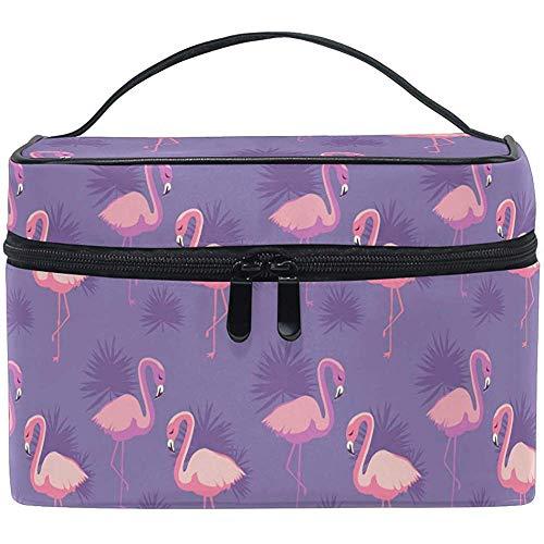 Trocial Flower Birds Palm Leaves Cartoon Cute Cosmetic Bag Travel Cosmetic Brush Bag Storage Organizer