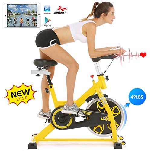 ANCHEER Indoor Cycling Fitnessbike, Ergometer Testsieger Hometrainer, Heimtrainer Fahrrad, Stufenlose Widerstandseinstellung mit großes Trägheitsschwungrad Benutzergewicht bis 150kg