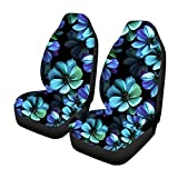 Xinind Blue Hawaiian Print with White Hibiscus Flowers Pattern Car Seat Cover Full Set Front Saddle Blanket Comfort Covers Vehicle Seat Protector Car Mat Covers, Fit Most Cars, Sedan, SUV, Van