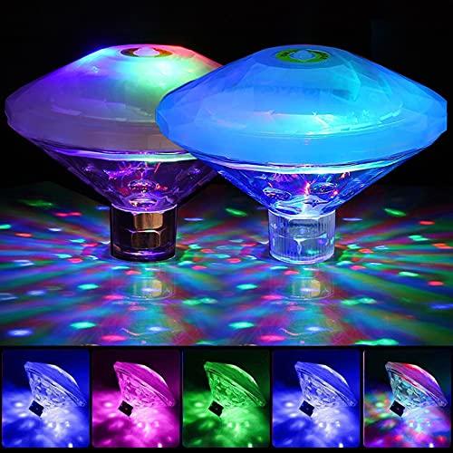 2er-Pack Teichlichter, Schwimmbad-Licht, LED-Disco-Spa-/Party-Licht, wasserdichte Unterwasser-Lampe, bunte Schwimmbad-Lampe und Springbrunnenlampe, dekoratives Licht