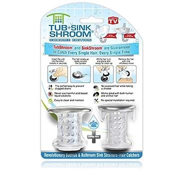 TubShroom and SinkShroom Drain Protectors Hair Catchers for Bathtubs and Sinks Chrome