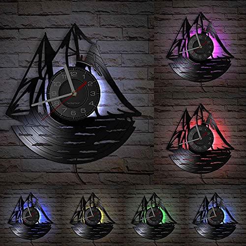 GVSPMOND Marinero de Vela en el océano Reloj con Disco de Vinilo velero náutico Colgante de Pared Arte náutico decoración del hogar Regalo de Marinero de Cuarzo Mudo