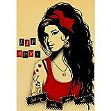 Amy Winehouse Retro Poster Und Druckt Kunst Leinwand