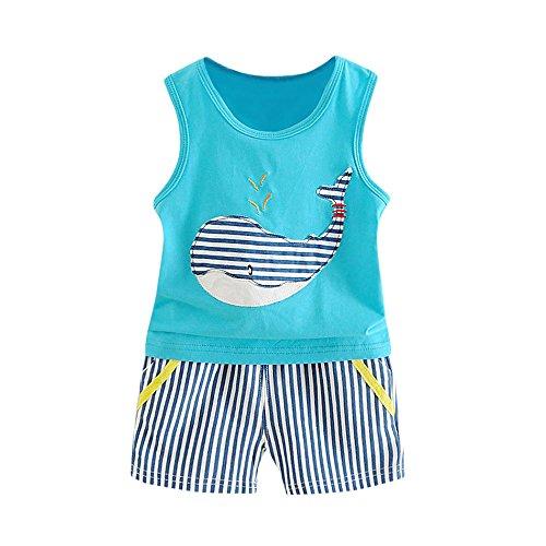 Vovotrade® 2PC Nouveau-Né Bébé Baby Boys Girls Garçons Filles Sans Manches Whale Print Top + Shorts Tenues Vêtements T-Shirt (Blue, M)