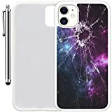 """Custom Case Compatible with iPhone 11 (6.1"""") (Cracked Screen Prank) Edge-to-Edge Rubber White Cover Ultra Slim 