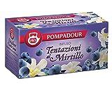 Pompadour 1913 Infuso Tentazioni al Mirtillo con Mirtilli Neri e Vaniglia Senza Caffeina - 1 x 20 Bustine di Tè (60 Grammi)