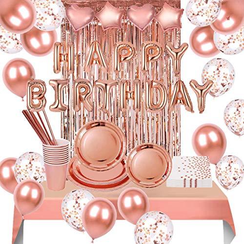VAINECHAY de cumpleaños Fiesta Globoss y Vajilla Desechable,de latex Kits de decoraciones de fiesta de cumpleaños de oro rosa globos para Cumpleaños Fiesta Suministros