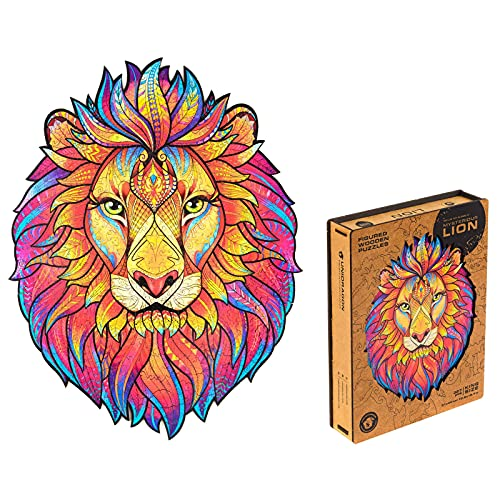 Unidragon Wooden Puzzle Jigsaw, Best Gift for Adults and Kids, Unique Shape Jigsaw Pieces Mysterious Lion, 12.2 х 15.7 inches, 327 pieces, King Size