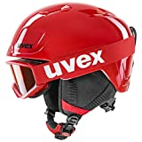 uvex Unisex Jugend heyya Set Skihelm & Skibrille, red-black, 46-50 cm