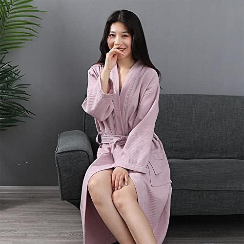 Eantpure Duschhandtuch,Bademantel aus Reiner Baumwolle mit Sieben-Punkt-Ärmeln-Pink_S #,Badehandtücher groß