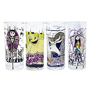 Silver Buffalo NB031T2 Disney Nightmare Before Christmas Glass Tumbler Set, 4-Pack
