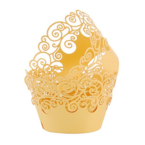 Aiyaya Filigree Artistic Muffin Case Cupcake Paper Cup Liners Little Vine Lace Laser Cupcake Wrappers for Wedding Party Birthday Decoration (Lace Yellow)