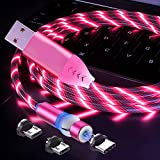 Streamer Fluido LED 3 en 1 Cable de carga magnético 360 ° & 180 ° Rotación Cable magnético LED ilumina cable USB compatible tipo C, Micro USB y más -3,3 ft/rojo