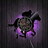 xcvbxcvb Reloj de Pared con Silueta de Vaquero y Jinete de Toro, Reloj de Pared con Registro de Vinilo, Vaquero Occidental Vintage, decoración artística de Pared Retro