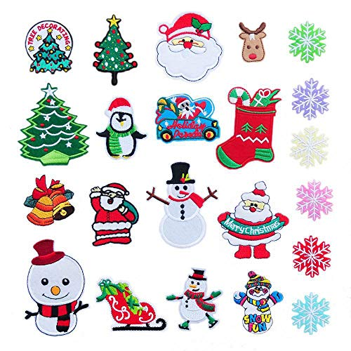 Christmas Iron On Patches 22 Pcs Merry Christmas Iron On Appliques Snowman Sequin Christmas Decorations Applique Sew Iron on Kids Craft Patch for Bags Jackets Jeans Clothes (22pcs)