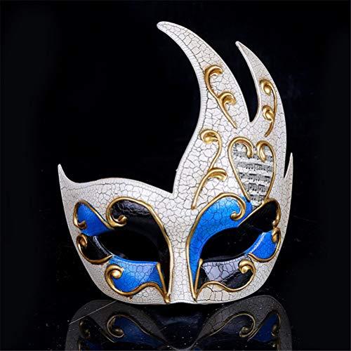 Xinjiahe Mascarada Máscara Jester Música Veneciana Mardi Gras Muro Decoración de Halloween Regalo Fiesta Máscara de Rendimiento,Blue