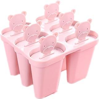 Nowbetter - Juego de 6 moldes de silicona reutilizables para helado con asas de oso y bandeja para hacer paletas de hielo de Frozen Purees para niños, ...