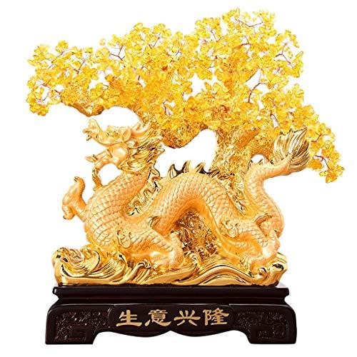 NYKK Ornamento de Escritorio Dragón Feng Shui Citrino árbol del Dinero Grifo de Cristal del árbol de Fortuna China Crystal Árbol Regalo artesanías decoración