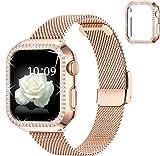wlooo Cinturino e Glitter Diamante Cover per Apple Watch 38mm 40mm 42mm 44mm, Magnetico Cinturini di Ricambio in Metallo Maglia Acciaio Inossidabile per iWatch Series 6 SE 5 4 3 2 1 (Oro rosa, 44mm)