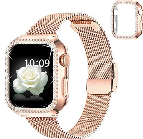 wlooo Reloj Correa & Glitter Diamante Funda para Apple Watch 38mm 40mm 42mm 44mm, Correa de Repuesto Ajustable de Malla de Metal Acero Inoxidable para iWatch Series SE/6/5/4/3/2/1 (Oro Rosa, 44mm)