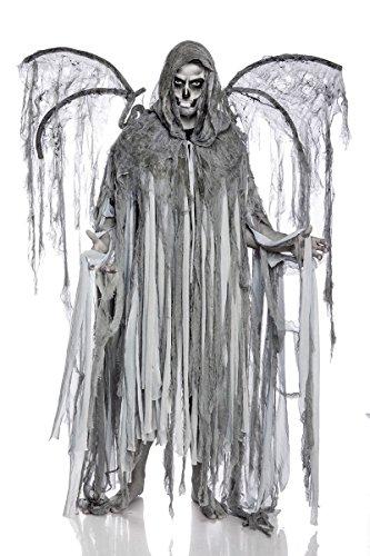 Herren Cosplay Todesengel Fantasy Kostüm Overall Verkleidung aus Fransencape, Flügel lange Fransen in grau Totenkopf Onsesize