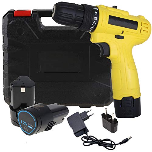 Multi Function Cordless Drill Machine 12V Lithium-Ion 1.2Ah with 2 Battery & Two Speed Control LED Light 10mm Keyless Chuck variable Reverse Forward torque system(10mm/12v/1350Rpm/Multicolor/Plastic)