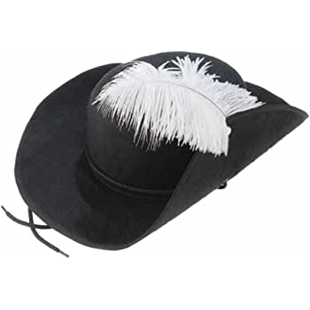 Cavalier Hat Black Musketeer Size Small Costume Buccaneer Men Swashbuckler Felt