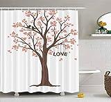 Cortina de Ducha, Linda Cortina de Ducha Baby Love Tree Juego de baño con Ganchos Cortina de Ducha de baño Cortina de Ducha para Mujeres