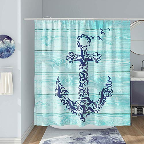 DESIHOM Nautical Shower Curtain Teal Anchor Shower Curtain Rustic Shower Curtain Beach Shower Curtain Ocean Shower Curtain Wooden Shower Curtain Summer Polyester Waterproof Shower Curtain 72x72 Inch