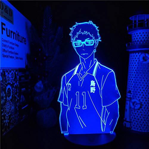 Luz De Ilusión 3D Luz De Noche Led Anime Haikyuu Kei Tsukishima Lámpara De Mesa Para Decoración De Habitación De Niños Manga Colorida Regalos De Navidad Cumpleaños Para Niños