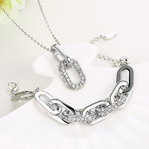 Fashion K gouden ring gesp 2 sets van ketting armband wit goud, imitatie platina