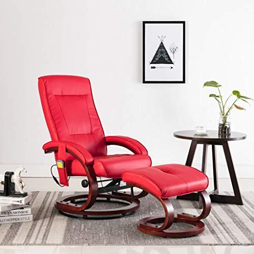 UnfadeMemory Elektrischer Massagesessel Fernsehsessel Sessel mit Fußhocker Kunstleder Gepolsterte Massage Relaxsessel mit Wärmefunktion Winkelverstellung 125~130 Grad Holz Konstruktion (Rot)