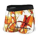 XCNGG Calzoncillo Tipo bóxer para Hombre Hambwg Abstract Ondulado Naranja y Blanco Fly Front con Bolsa de Ropa Interior