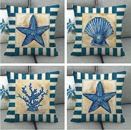 JOVEGSRVA Juego de 4 fundas de cojín de estrellas de mar retro impermeables, para patio, jardín, banco, sala de estar, sofá, decoración de 45 x 45 cm