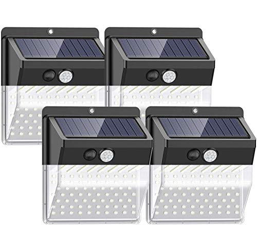 [Nueva versión de 136 LED] Luces solares para exteriores, SEZAC Luces solares para seguridad para exteriores Luces con sensor de movimiento solar para patio, garaje, camino (paquete de 4)