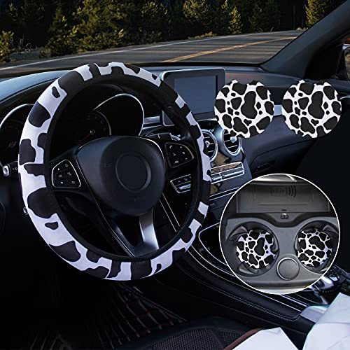 Siyaluens Cow Steering Wheel Cover for Women with 2PCS Car Coasters, Universal 14.5-15 inches Cow Print Steering Wheel Cover Fashion Non-Slip Suitable for Girls