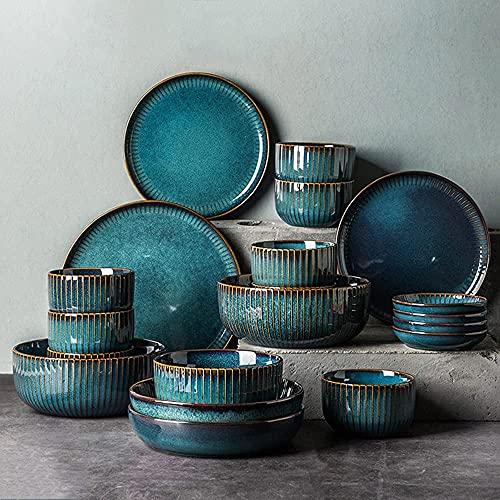 Vajilla Ligero Lujo Platos nórdicos Conjunto Conjunto de vajillas para el hogar Platos de cerámica 6~8 Personas Vajilla Creativa Personalidad Vajilla de 28 Piezas