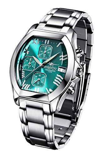 FIREFOX NEBUKADNEZAR FFS175-115 Sunray türkis Damenuhr Armbanduhr Chronograph massiv Edelstahl Sicherheitsfaltschließe wasserdicht Laufwerk Miyota OS10