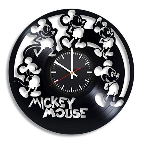 Reloj de pared de vinilo de Mickey Mouse – Disney, discos de vinilo, decoración de habitación, hecho…