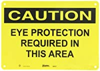 """Master Lock S6451 14"""" Width x 10"""" Height Polypropylene, Black on Yellow Safety Sign, Header """"Caution"""", Legend """"Eye Protection Required In This Area"""""""