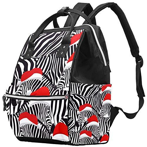 Borsone per pannolini natalizio a righe con zebra, multifunzione, portatile, da viaggio, per la cura del bambino, impermeabile, di grande capacità, elegante e durevole